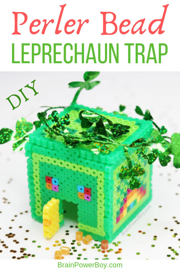 Make a 3D Perler Bead Leprechaun Trap. Such a fun Saint Patrick's Day project. Instructions and video on site.