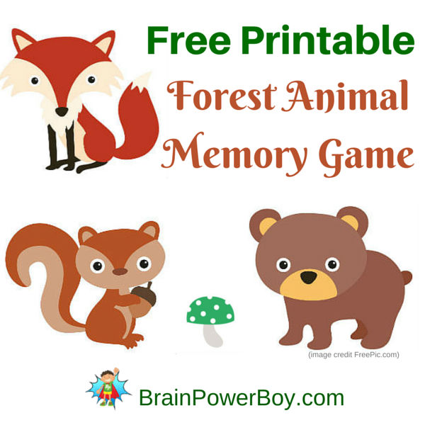 Image of: Bingo Super Cute Printable Memory Game For Kids Your Kids Are Going To Love This Adorable Brain Power Boy Cute Forest Animal Memory Game Brain Power Boy