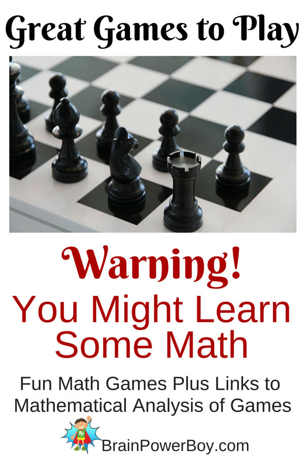 Have a lot of fun playing classic games while learning basic math at the same time. The article includes links to interesting mathematical analysis of games that is great for older kids. Add math games to your family game night for learning math in a natural way.