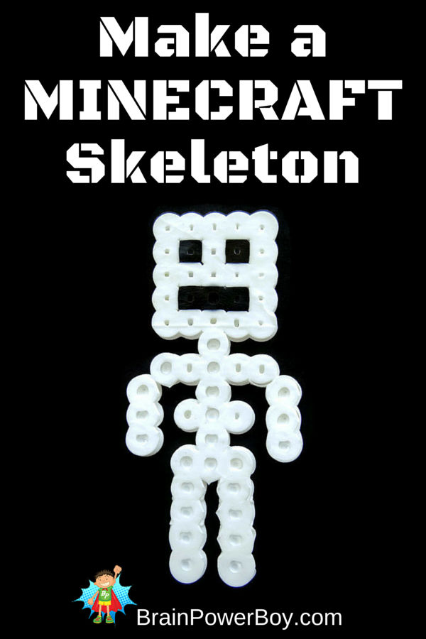 Use this easy perler bead pattern to make a minecraft skeleton