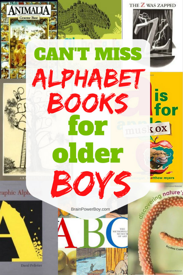 If you think alphabet books are only for little kids, you are totally wrong! Find out what alphabet books are awesome for older boys!! You have to check these out. I promise they are that good.
