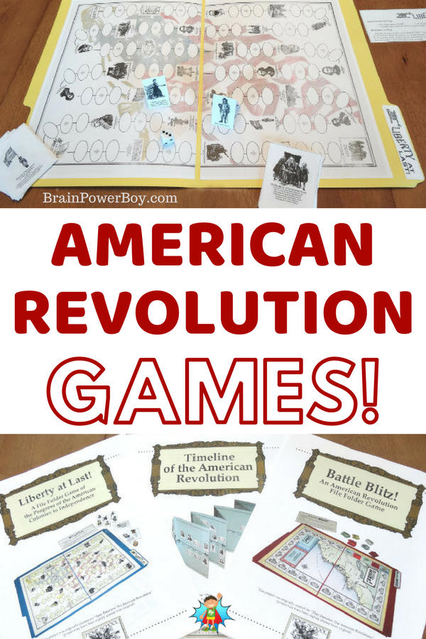 Learn about the American Revolution by playing games! (#ad Home School in the Woods) These printable games are fun and they are super inexpensive too.