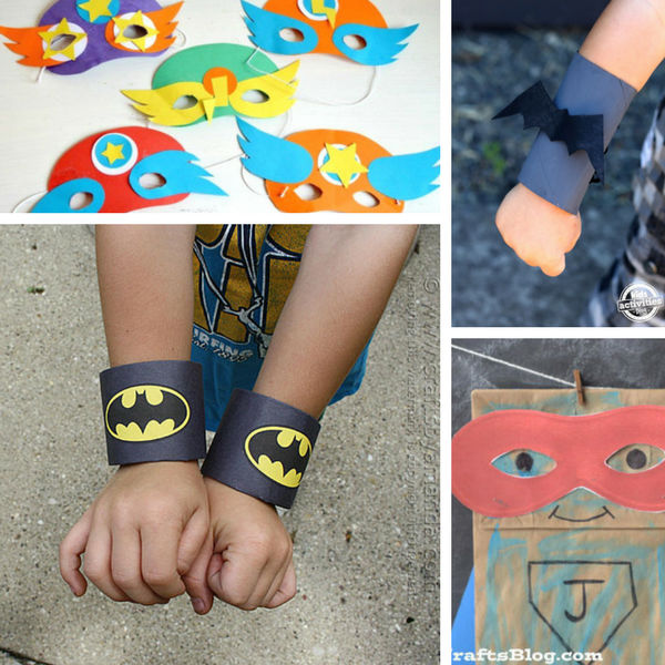 Batman cuffs paper bag superhero and masks
