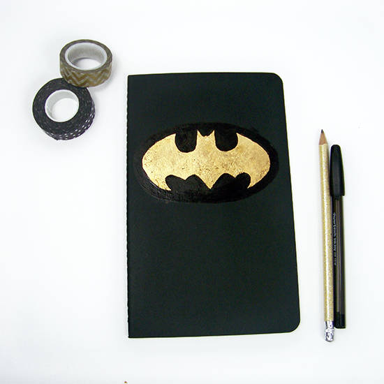 Batman notebook with gold foil