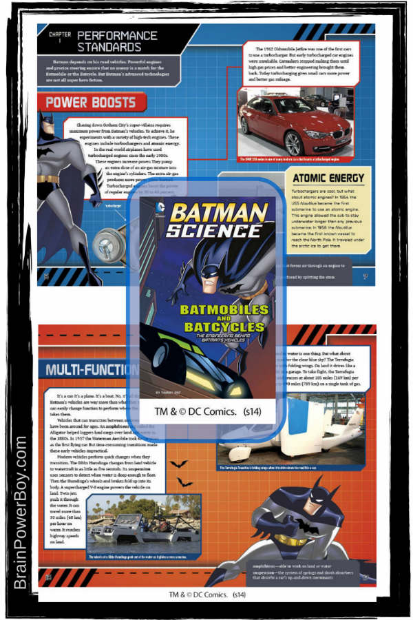Batmobiles and Batcycles Book Review. Batman Science Series. Great Books for Boys | BrainPowerBoy