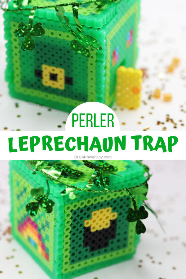 Make a unique leprechaun trap out of Perler beads! What a great project for kids! Instructions and video to help you make your 3D perler bead trap.