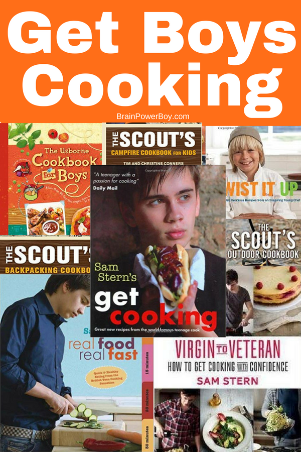 One dozen + books to get boys in the kitchen and cooking! Cooking is a skill they need to know so why not get some books that will engage them because they were written with boys in mind?!