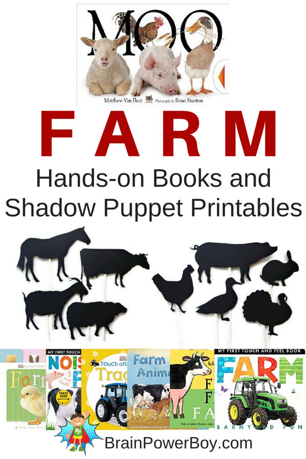 Farms! Wonderful list of farm books for toddlers and preschoolers that get kids interacting with books. Plus a delightful group of farm animal shadow puppets--free printables!