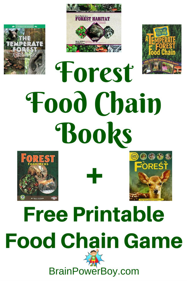 Learn about the forest food chain with these great books plus get a beautiful, free printable forest food chain game to play.