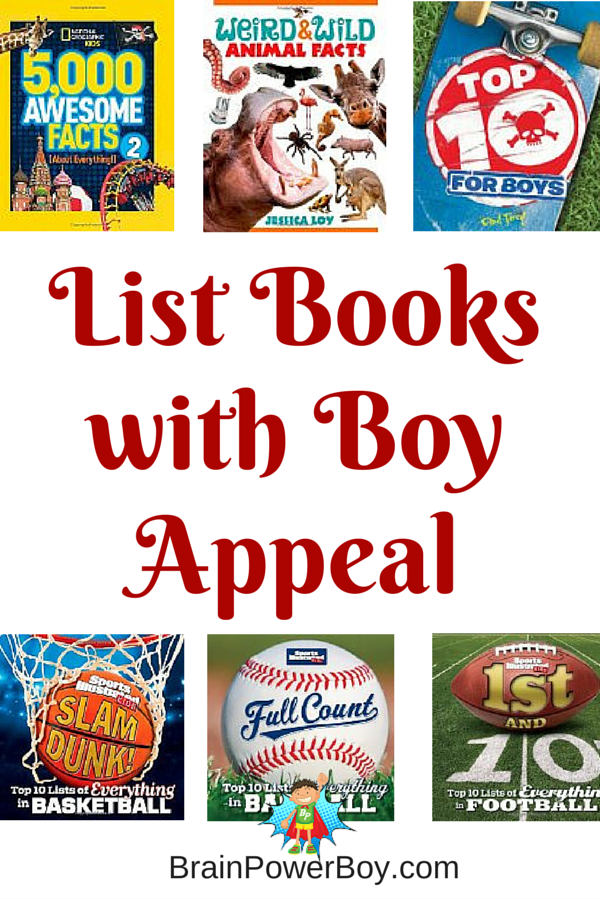 9 List Books to get boys reading. High interest books with a lot of fun and intriguing facts.