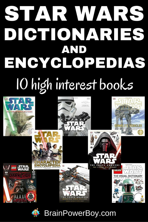 These books are the perfect high interest books for Star Wars fans. The Star Wars dictionaries and encyclopedias featured here are the best of the best and are sure to get anyone who watched the movies into reading about them as well.