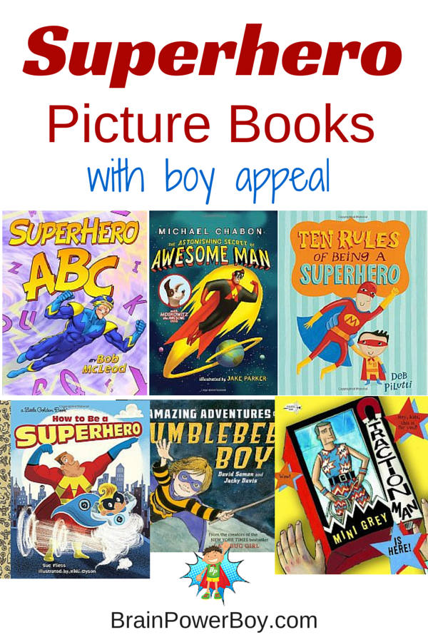 Non-commercial superhero picture books chosen especially for boys.