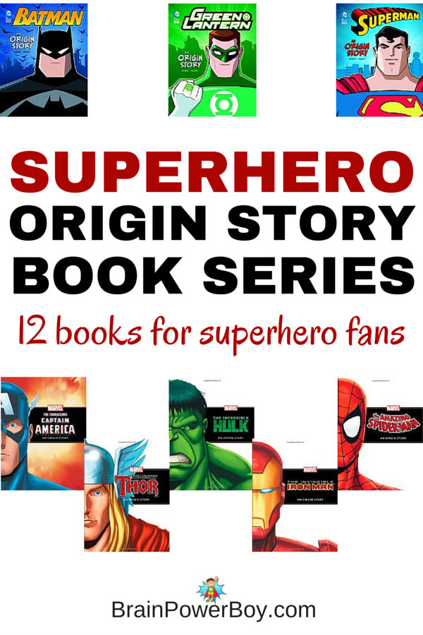 Perfect book series for superhero fans! 12 books that tell all about the origin of each superhero. Superheroes from DC and Marvel. Click through to see all of the superhero origin story book series.