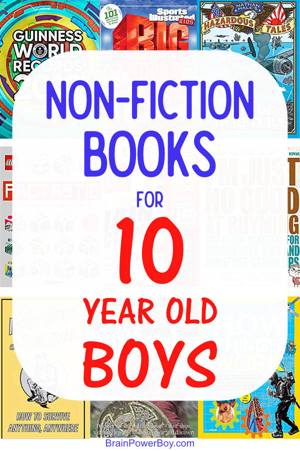 This list has excellent non-fiction books for 10 year old boys! (includes fiction titles as well) Tap or click to see them now and keep your boy reading!