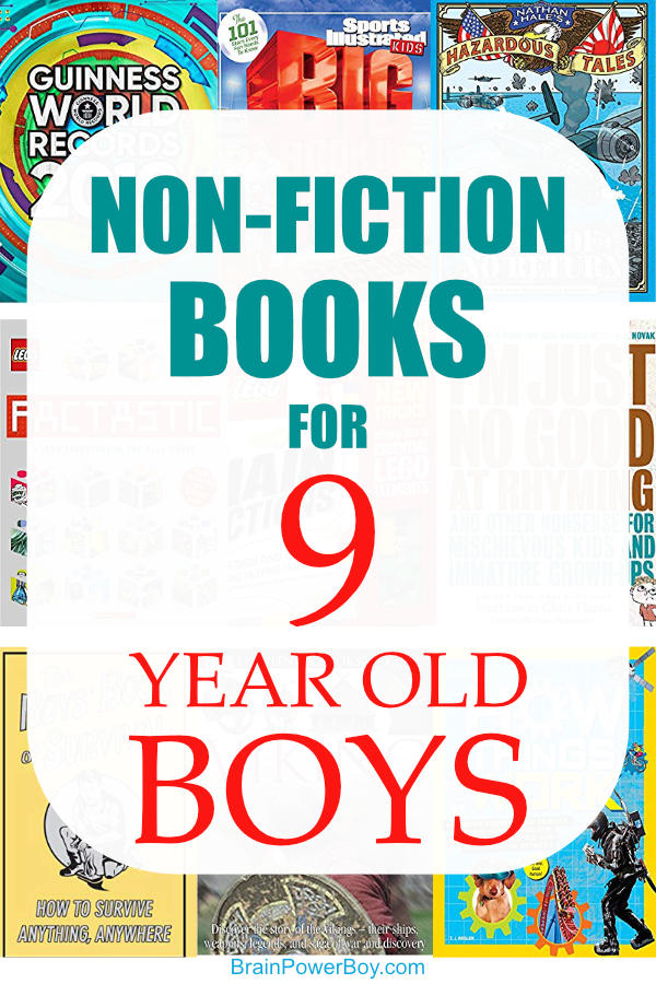Super non-fiction books for 9 year old boys. He is going to love these book titles. Non fiction is awesome for boys and this book list has some great selections.