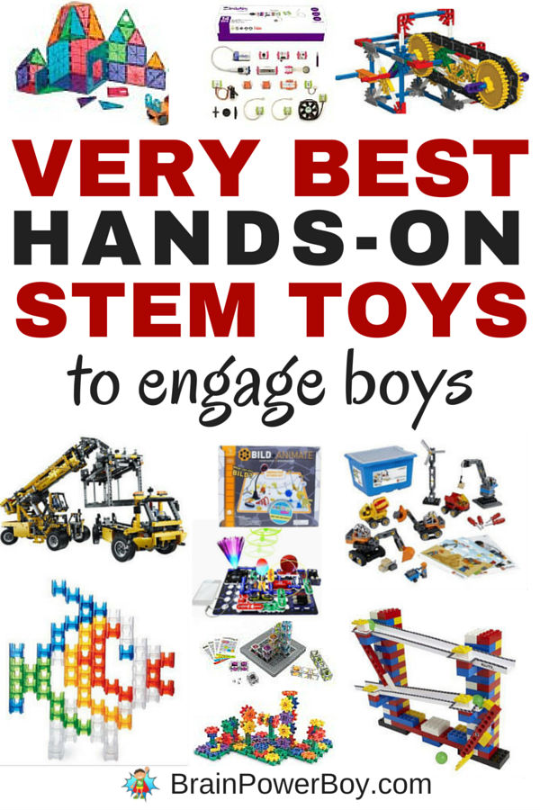 These are the very best hands-on STEM toys to engage boys. All of the over 20 toys chosen provide exceptional play value and engaging STEM learning. These make great gifts for boys. Click image to see the list.