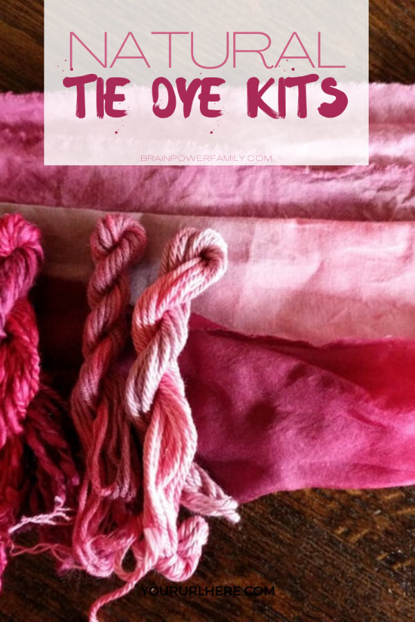 Natural tie dye kits that use flowers and plants showing dyed fabric and yarn