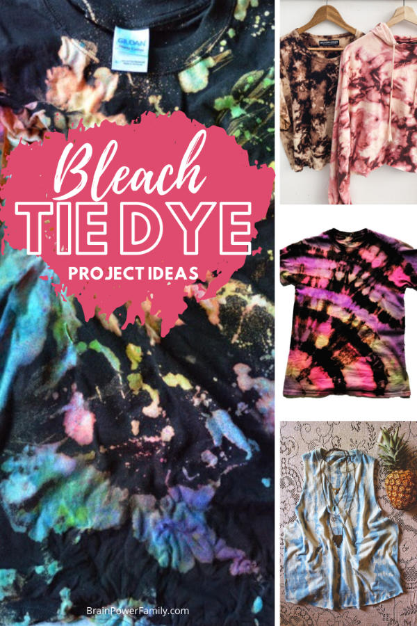 Bleach Tie Dye clothes showing shirts and sweatshirts, crop tops