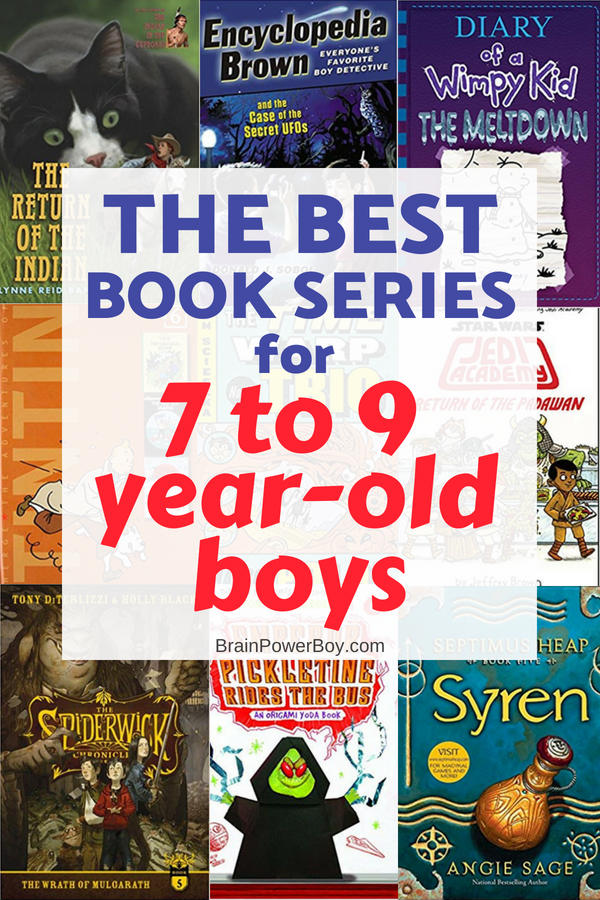 Grab the best book series for boys age 7 - 9 years old. These are books that will hold their attention and have them reading the whole series just as fast as they can get their hands on them! Tap to see all the choices!