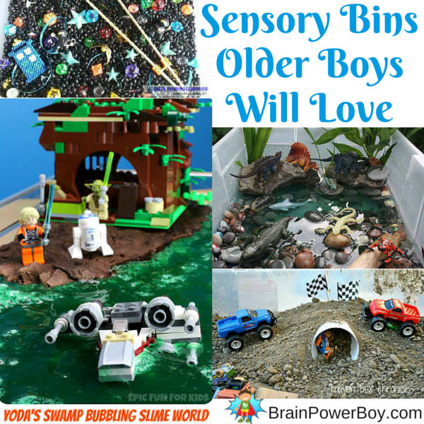 Boys Learning: Sensory bins are not just for young boys, they are for older boys as well. Try a geek sensory bin, LEGO slime swamp, dinosaur water bin and a monster truck bin that they will love.