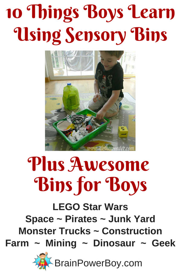 10 things boys learn through using sensory bins and some awesome bins for boys including LEGO Star Wars bin, space bin, pirate bin, truck bin, construction bin, dinosaur sensory bin and more!