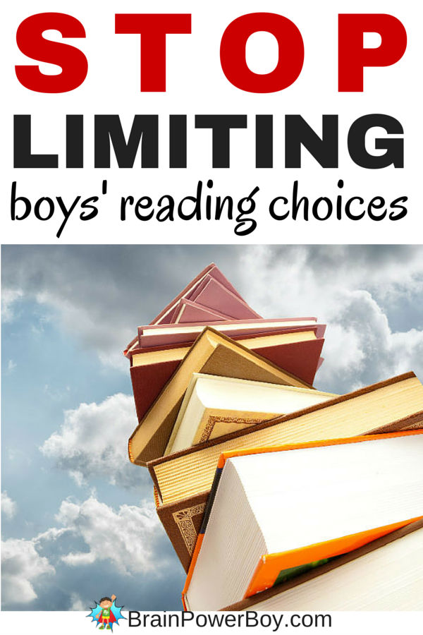If you want your boys to read, stop limiting their reading choices. Read this story and learn why you need to stop arbitrary limits and how being allowed to choose is linked to achievement.