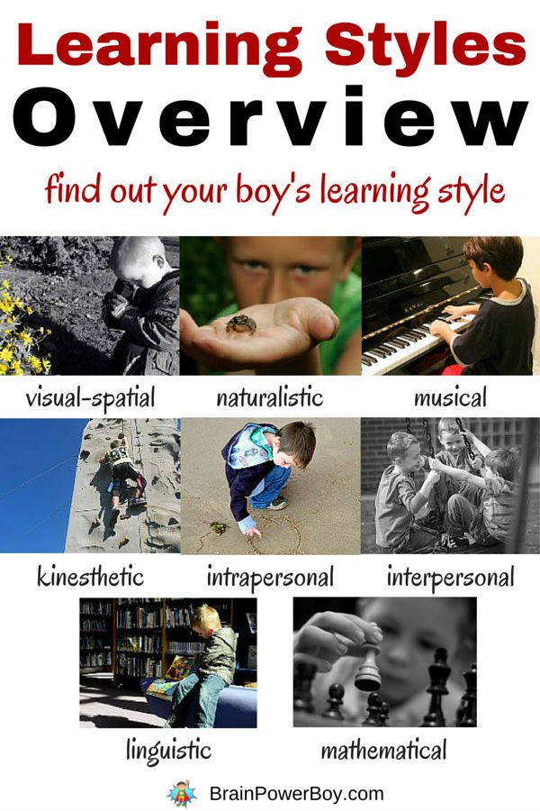 Do you know your boy's learning style? Taking the time to find out the one to three learning styles he has a preference for can make all the difference in helping him learn. Click the picture to see a learning styles overview of 8 styles and additional, helpful information.
