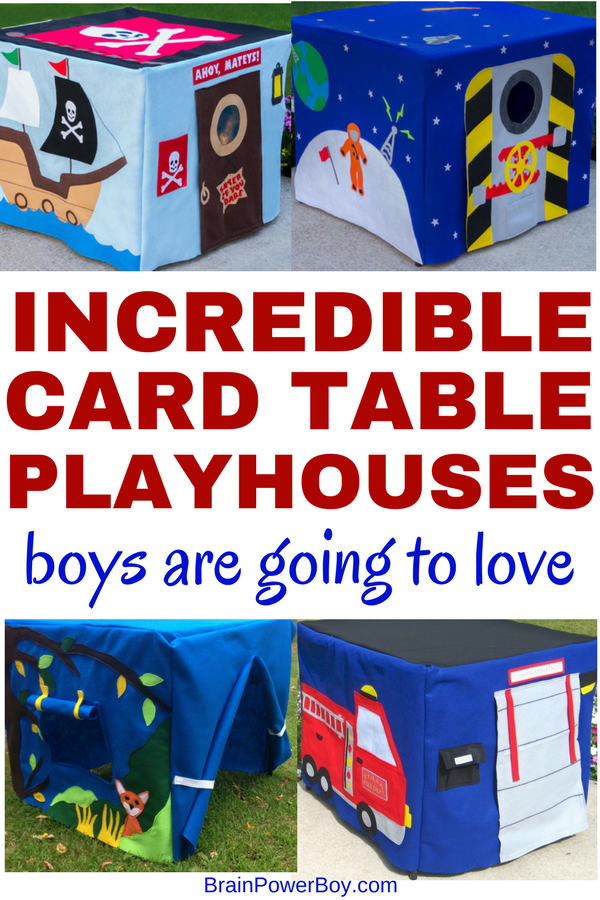 These card table playhouse for boys are really neat. Your boys are simply going to love them. They will be building their fort and playing under the card table for hours and hours!