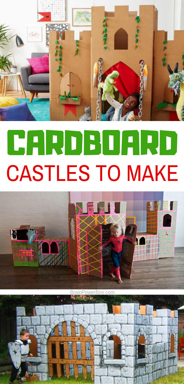 Wonderful cardboard castle playhouses for you to make! Your kids are going to go crazy for these!