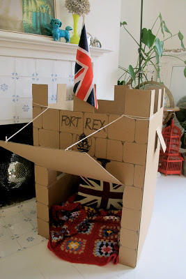 Cardboard Castle with Drawbridge and Flag