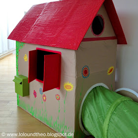 Cardboard Playhouse Climbing Tube Attached
