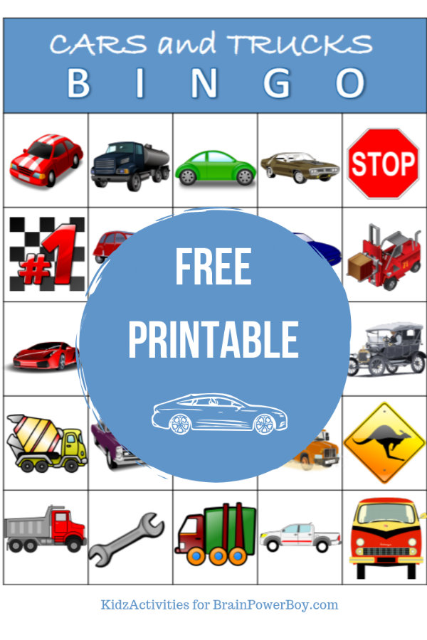 Fun cars and truck bingo game! Print and play today with our free printable!