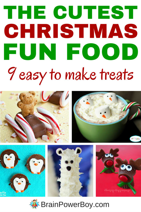 The cutest Christmas fun food you have ever seen! 9 super adorable treats to make with kids. Pretzel snowmen, santa star cookies, marshmallow snowman pops, a Christmas tree and more. Click picture to see them all.