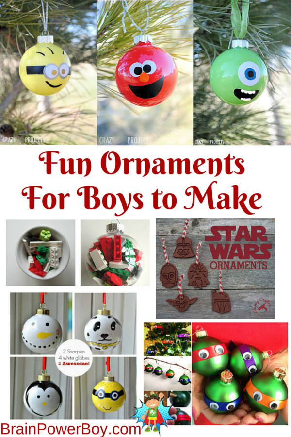 Christmas Ornaments for Boys to Make. DIY LEGO, Star Wars, Minion, Mike, Elmo, TMNJ and more. Fun ornaments with boy appeal!