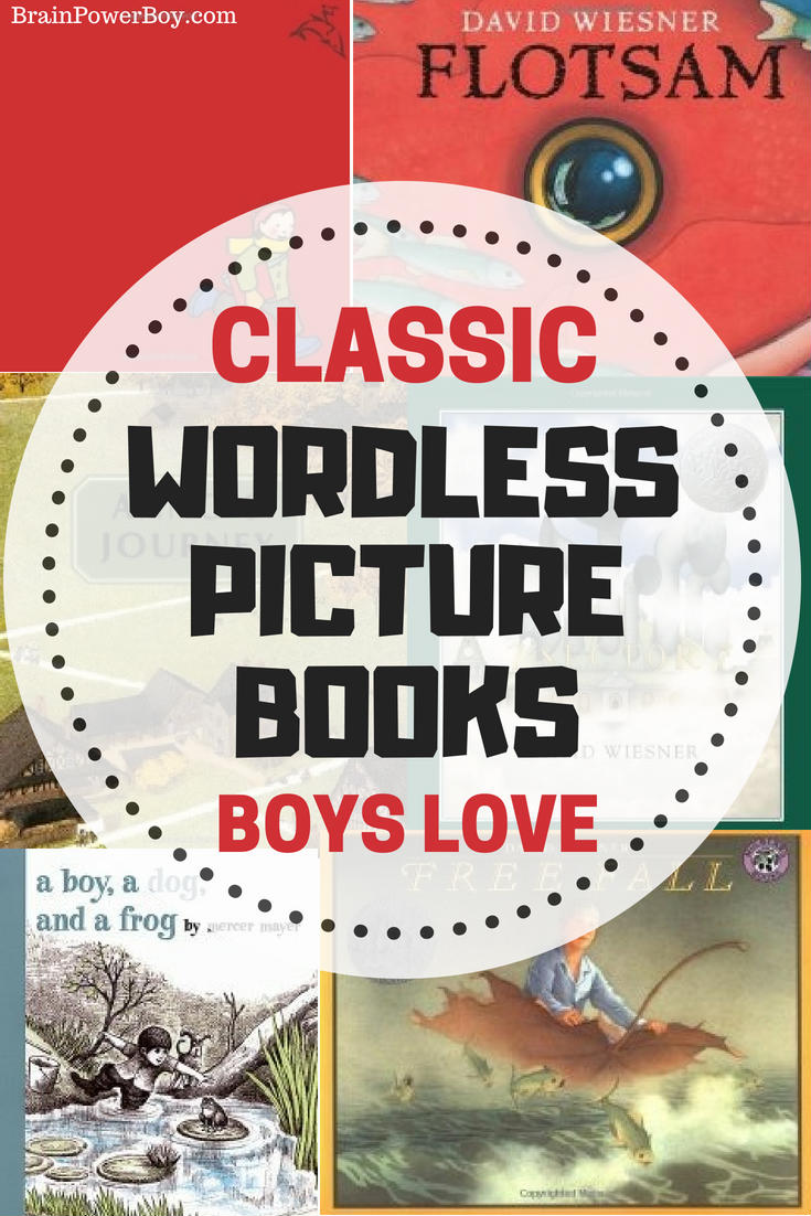 Get the very best classic wordless picture books that boys will devour. They are going to want to read these again, and again, and again. There are huge benefits to getting your kids hooked on wordless picture books and this list is a great place to start.