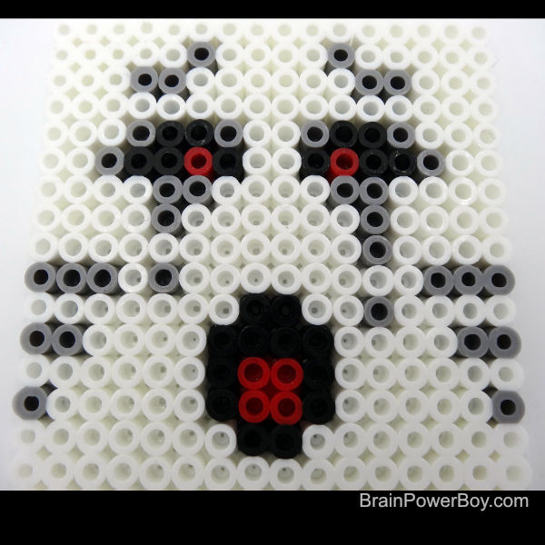 Closeup details of Minecraft Ghast face to help you make this Perler bead project.