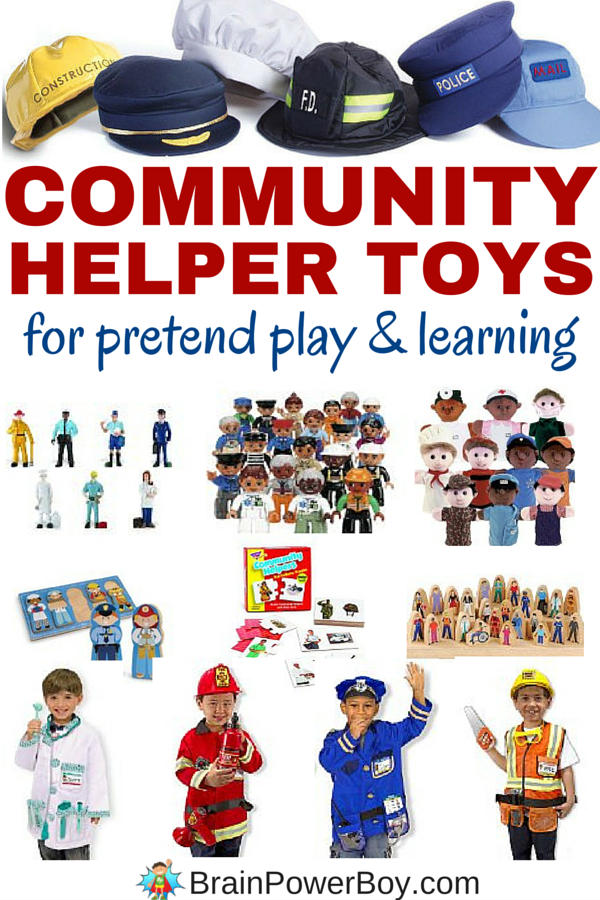 Grab some fun community helper toys to help kids learn about what the helpers in their community do. Using pretend play and these toys are a wonderful way for young children to learn. Click to see the list of community helper puzzles, figures, puppets, DUPLO, dress-up clothes and more.