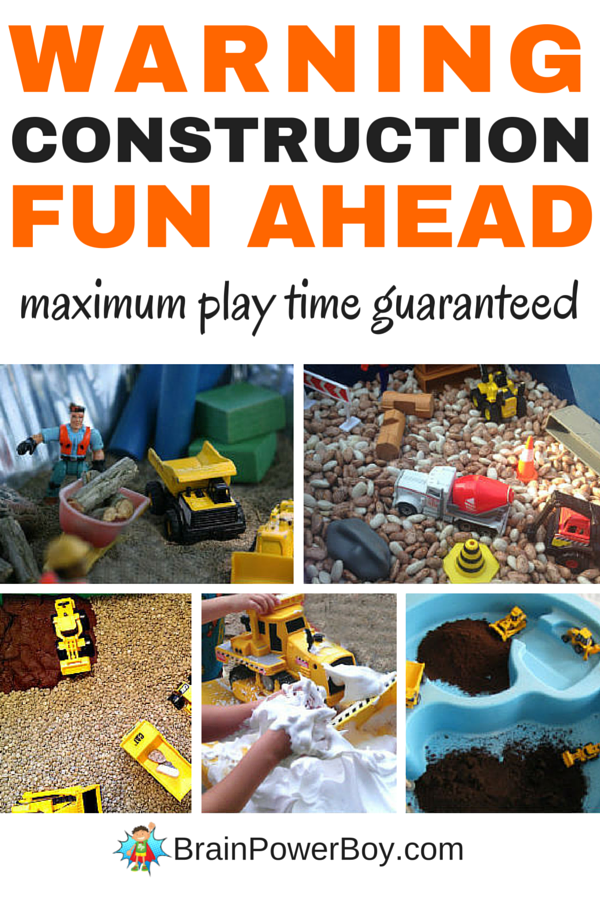12 totally awesome construction bin ideas for little construction fans. Your kids will love these construction sensory bins and will play with them for hours. Click image to see them now.