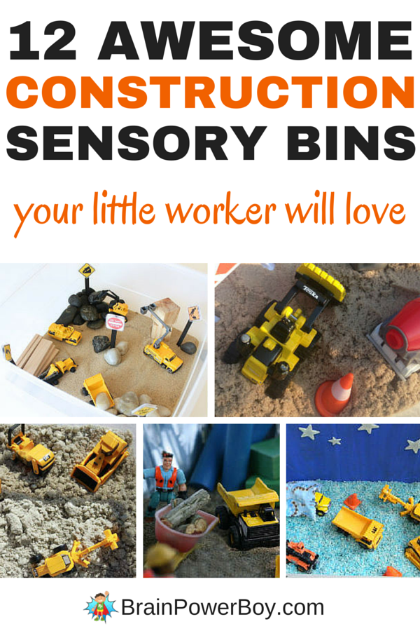 You have got to see these wonderful construction bins! They are guaranteed to keep your little workers playing for hours. Click the picture to see all 12 construction sensory bins now.