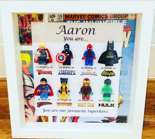 personalized LEGO shadow box superheroes version