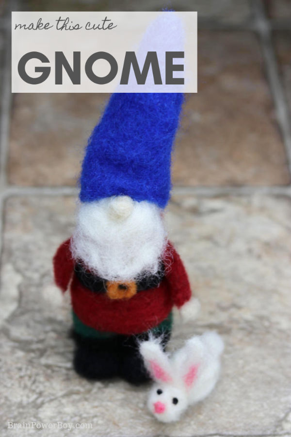 Make a cute needle felted gnome! Full tutorial with video.