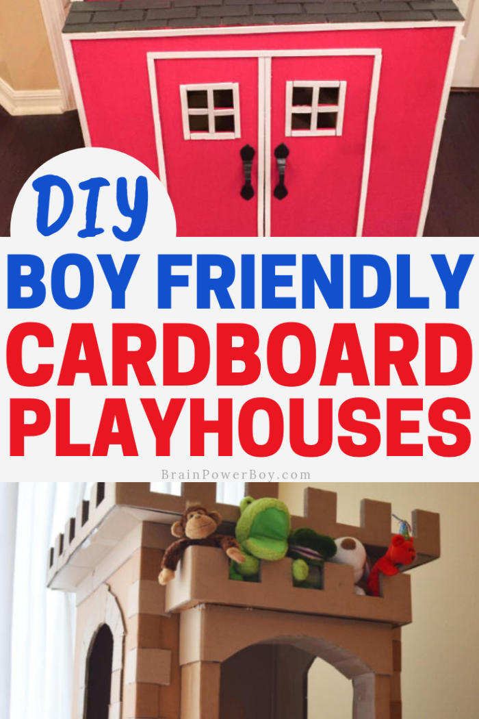 Wonderful boy friendly cardboard playhouses that your boy will love to have. You can totally make these!!