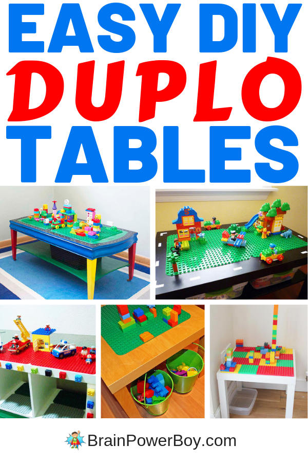 These are so cool! DIY DUPLO tables that you can actually make! Your kids will love it and so will you because they help you organize the bricks.