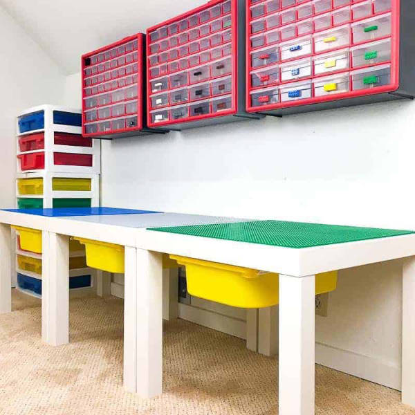 DIY LEGO Table with Bins and Storage Area