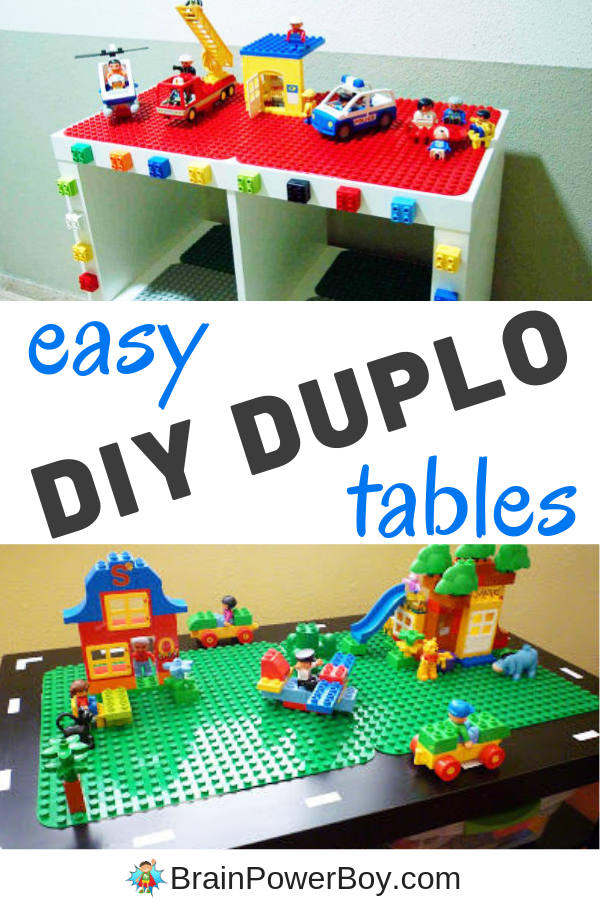 Try these IKEA Hacks for making a DUPLO Table! You could also use a thrift store find. These are super neat. I love the one with the road.