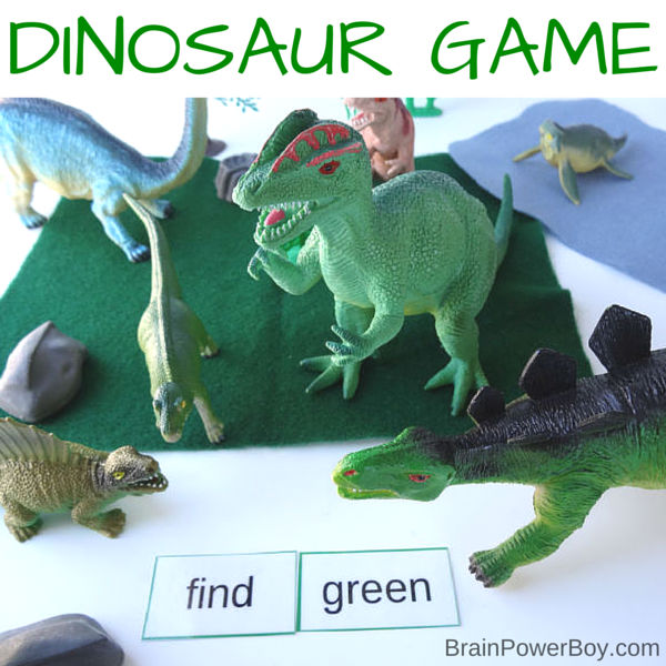 Fun, hands-on dinosaur sight word game. Includes free printable preschool and kindergarten words to play the game.