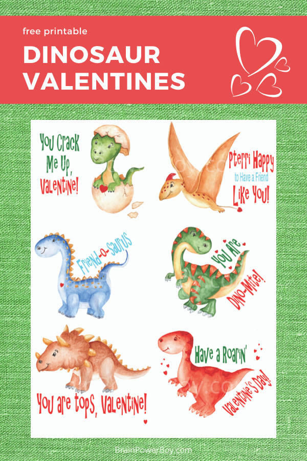 These cute dinosaur valentines will be a hit with dino fans! Print for free.