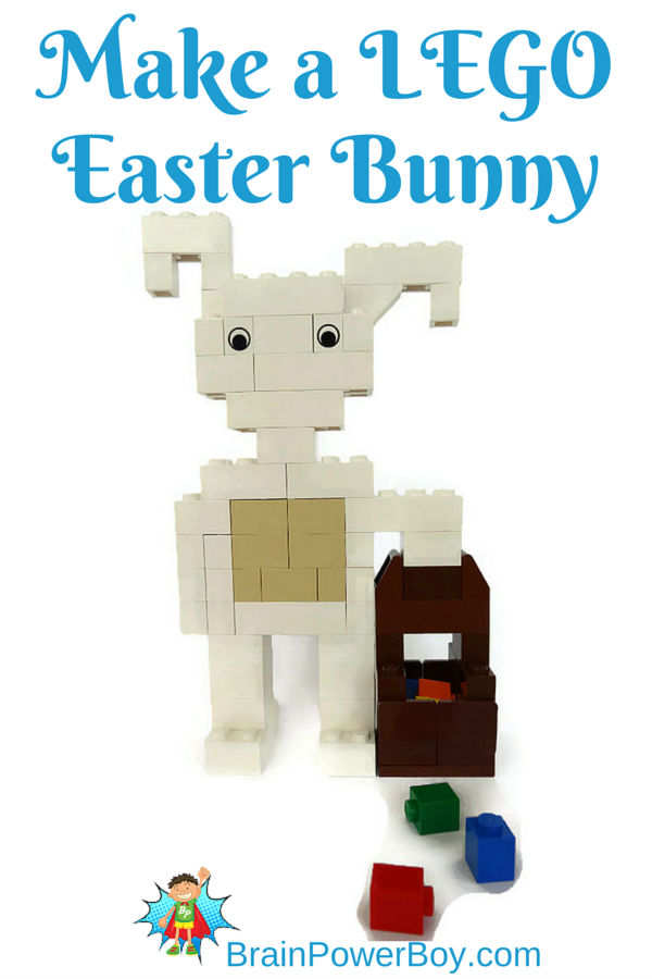 Make your own LEGO Easter Bunny with basket. So cute!