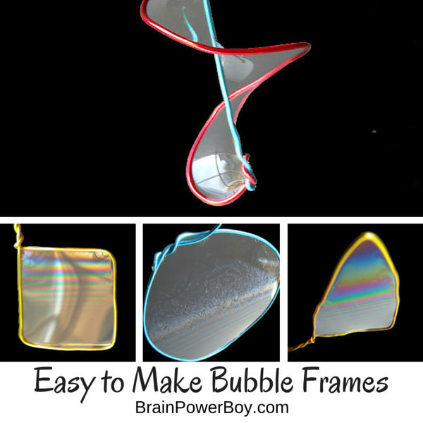 Super easy to make bubble frames that give awesome results. Fun bubble ideas along with a great bubble recipe for making your bubbles.