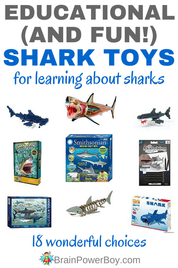 Use these educational shark toys to engage your kids while learning about sharks. These 18 toys are a great addition to a homeschool unit study on sharks, or to have in the classroom. These are also super choices for shark week or as a gift for a shark loving kid!